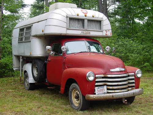 Avion Camper on vintage red Checrolet truck
