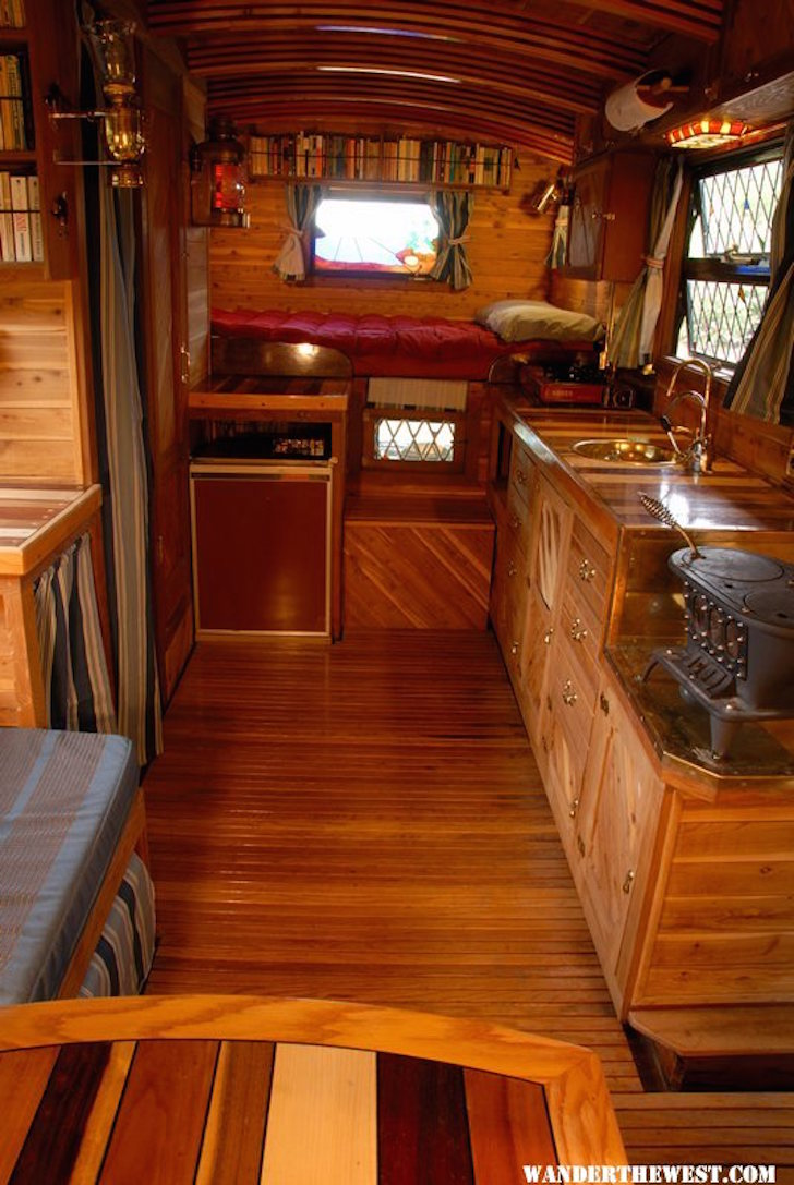 Interior of custom wood ceder truck camper