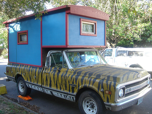 Tiger Stripe Chevy Blule Homemade Camper