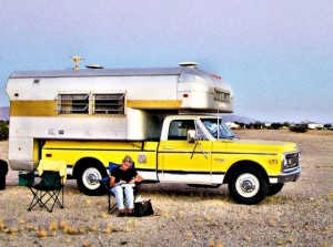 Chevy Truck Silver Streak Camper Sitting at Camp