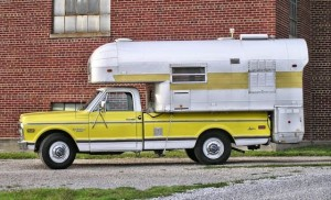Silver Streak Camper on Chevy Truck Profile View
