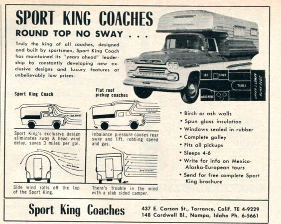 Cintage advertisment for the Sport King Camper